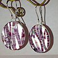 BO fimo, polymer clay random stripes earrings
