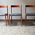 Chaises bois 1960 grises