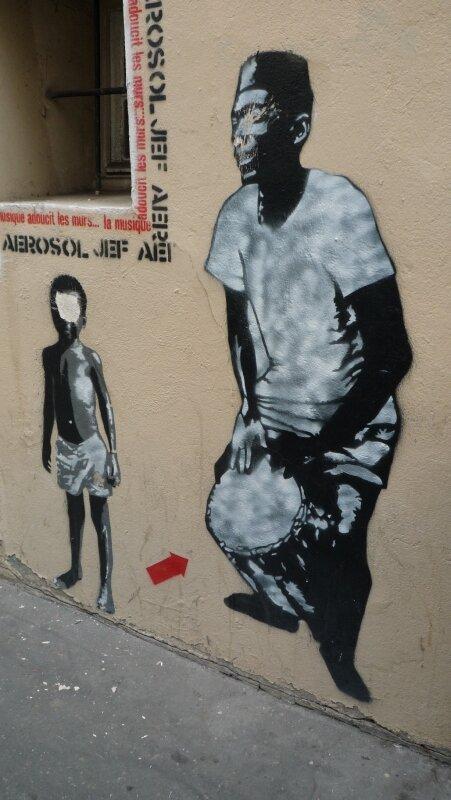 Jef Aérosol-Djembefola-rue des Feuillantines-5e