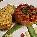Saumon tandoori et rosace de légumes