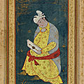 Folio from an album; seated youth, early 17th century. safavid period. iran
