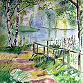 Promenade romantique, aquarelle 62 x 50.