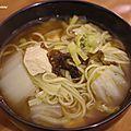 Soupe de nouilles de konjac verte ( tofu, poireau, chou chinois, algues)