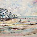Bassin d'arcachon ,aquarelle 50x70cm,papier arches grain torchon