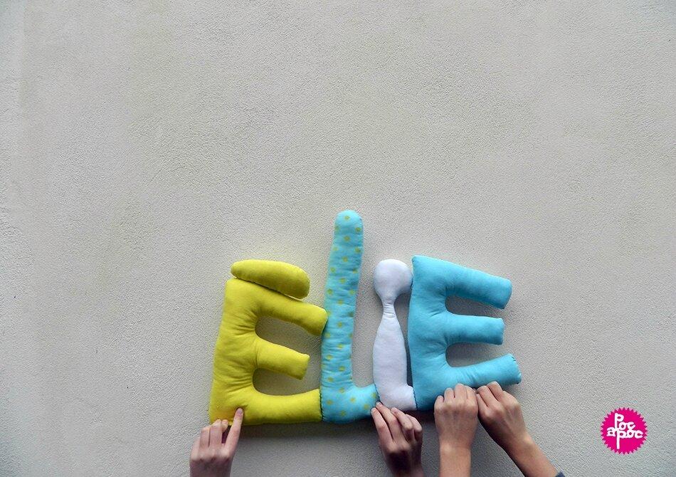 elie ,mot en tissu,mot decoratif,cadeau de naissance,decoration,chambre d'enfant,cadeau personnalise,cadeau original,poc a poc,blog