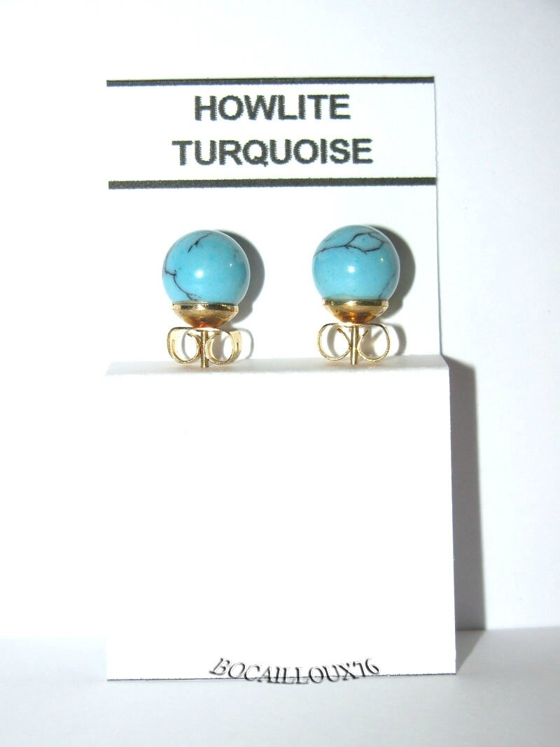 BOUCLE OREILLE PUCE HOWLITE TURQUOISE 3 D.8mm