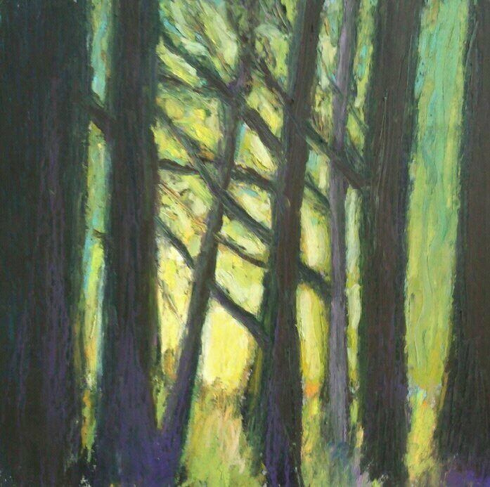 Lumière jaune, 2012, pastel à l'huile, 13 x 13 cm, 70 EUrOS (encadré en 20 x 20 cm )