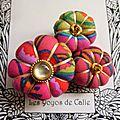 ♥ aglae ♥ broche textile hippie chic fleurs potirons - les yoyos de calie