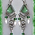 Boucles d'oreilles suzana verre murano vert métal argenté artisanat du pérou