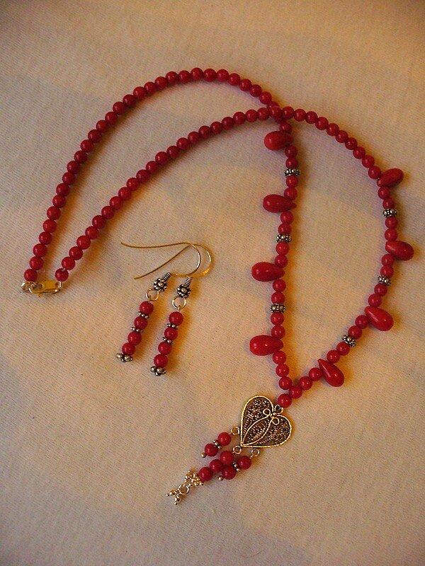 Corail rouge et argent massif, perle filigrannée turque