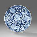 A Blue and White Dish, Kangxi period (1662-1722). Photo Stockholms Auktionsverk