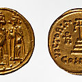 Gold solidus struck by the emperor heraclius, constantinople, 640 or 641