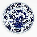Dish with design of the Three Friends, China, Ming dynasty (1368- 1644), Jiajing mark and period (1522 - 1566), Jingdezhen, Jiangxi Province, porcelain with underglaze blue decoration, 3.2 x 17.6 cm. Gift of Florence Marks, Orwell Phillips and Barbara Selb