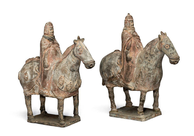 Two painted pottery figures of equestrians, China, Northern Wei dynasty (AD 386-535)