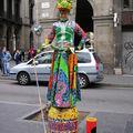 Statue sur la Rambla, à Barcelone