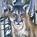 Grand Prédateur Félin PUMA ou couguar Ghislaine Letourneur Peinture sur bois Huile - Peinture animaux sauvages - Vopsea pe lemn