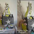 VENDU - grand sac à langer bébé fashion moderne nombreux rangements poches thème étoiles vert anis gris argenté 4