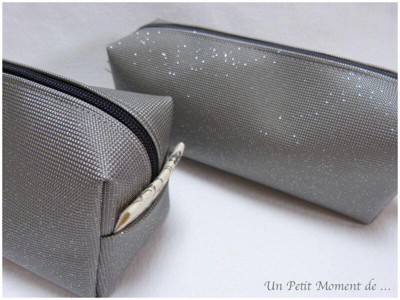 Trousses à paillettes gris clair 2