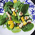 Salade poulet epinards mangue