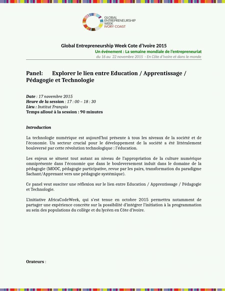 GEW- Cote d'Ivoire 2015/Panel:Explorer le lien entre Education / Apprentissage / Pédagogie et Technologie 17.11.2015 ABIDJAN 17H