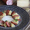 Gnocchis a la tomme de savoie - emulsion saucisse de morteau et chips de tomme