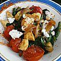 Poulet sauté-tomates, épinards, ricotta