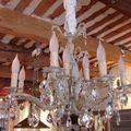 Très beau lustre ancien patiné lin pampilles cristal decoration