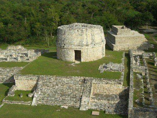 Mayapan - View of El Caracol from top of Temple of Kukulcan