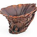 A rhinoceros horn 'flowers' libation cup, 17th-18th century