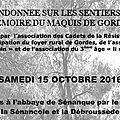 Calendrier-samedi 15 octobre 2016: randonnée sur les sentiers de mémoire du maquis de gordes