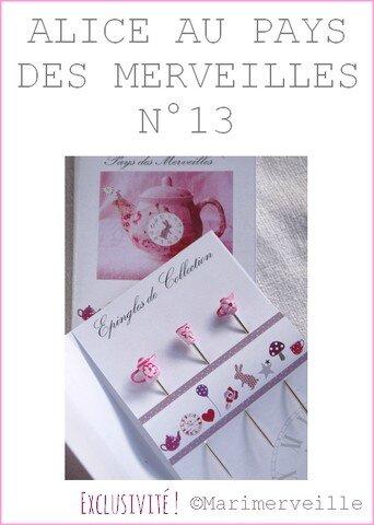 Epingles marimerveille Alice au pays des merveilles N°13