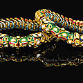 A pair of diamond and enamelled bracelets (dastband) with makara-head terminals, south india, late 19th-early 20th century
