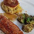 Saumon sauce teriyaki, avocat grillé au sésame