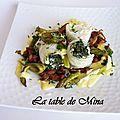 Soles farcies aux épinards, chanterelles et asperges, sauce hollandaise