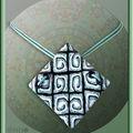 Collier azteque transucide pastels et noir&blanc n° 1 (N)