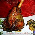 spécial pâques - souris ou becquet d'agneau sauce au miel et pommes de terre - carottes aux herbes de provence