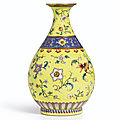 A magnificent yellow-ground 'yangcai' vase, seal mark and period of qianlong (1736-1795)