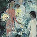 Vũ cao đàm (1908-2000), trois jeunes femmes avec un enfant (three young ladies with a baby), 1964