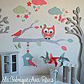 stickers décoration chambre enfant fille bébé branche cage à oiseau hibou chouette oiseaux papillons étoiles corail vert eau mint argent