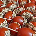 Tomates cerises caramélisées au sésame...