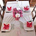 Table d'été rose hortensia