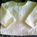 Chemise sans col en petit Vichy jaune - 6 mois