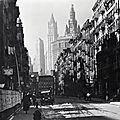 The Woolworth and Municipal buildings seen from Henry Street in 1936, New York City