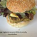 Burger végétarien aux pois chiche et curry ( 320 cal/ par personne)