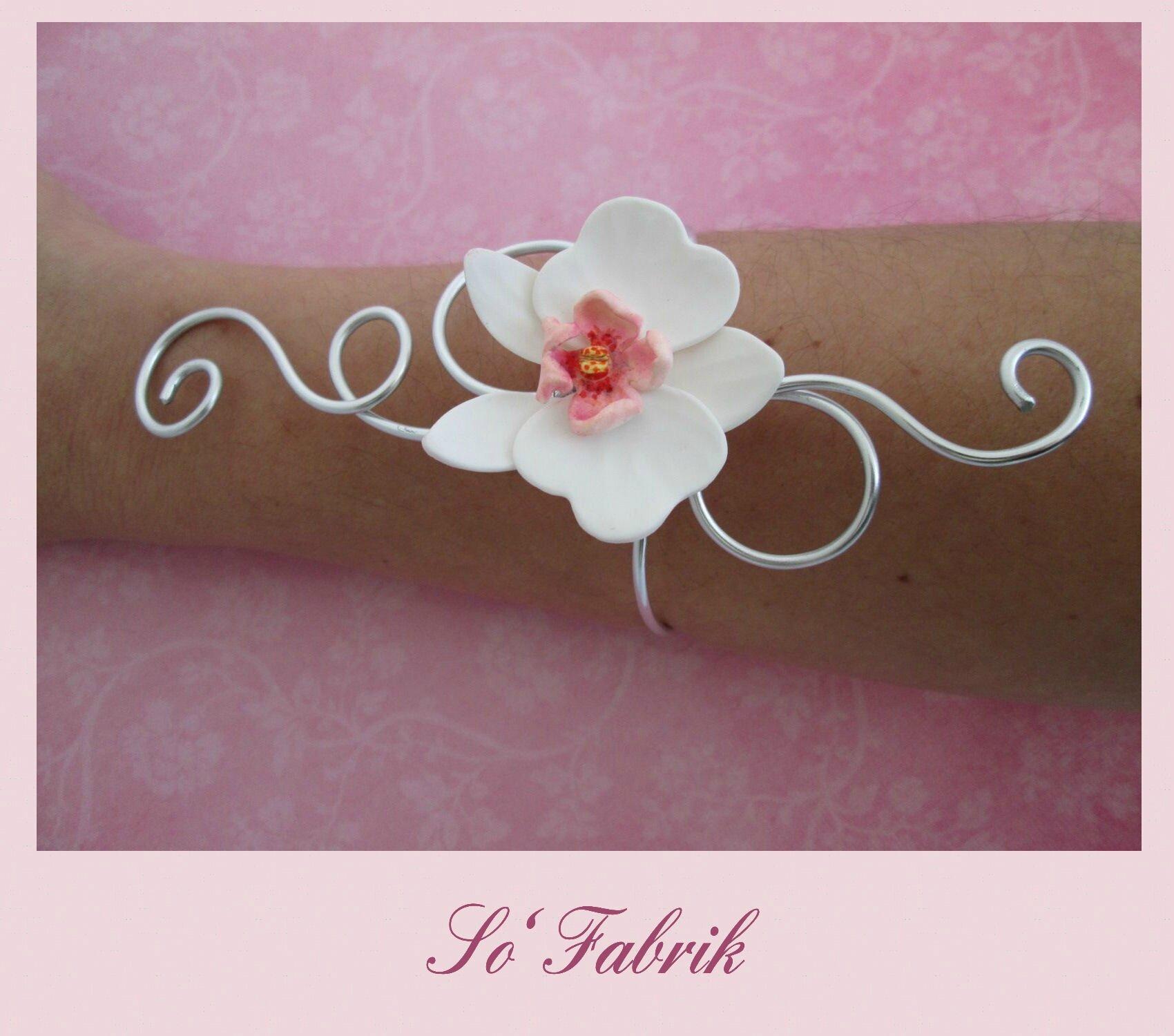 Bracelet Alu Orchidée Blanche et rose