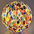 Grande boule lumineuse en verre de murano, fabrication artisanale