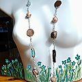 sautoir fimo et wire avec dessin fleurs