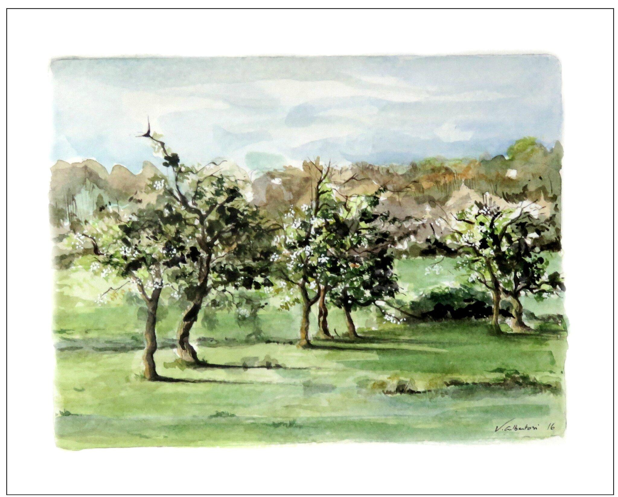 watercolor french landscape aquarelle valerie albertosi Boisemont