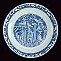 A beautiful and large blue and white porcelain plate, Jiajing period (1522-1566)