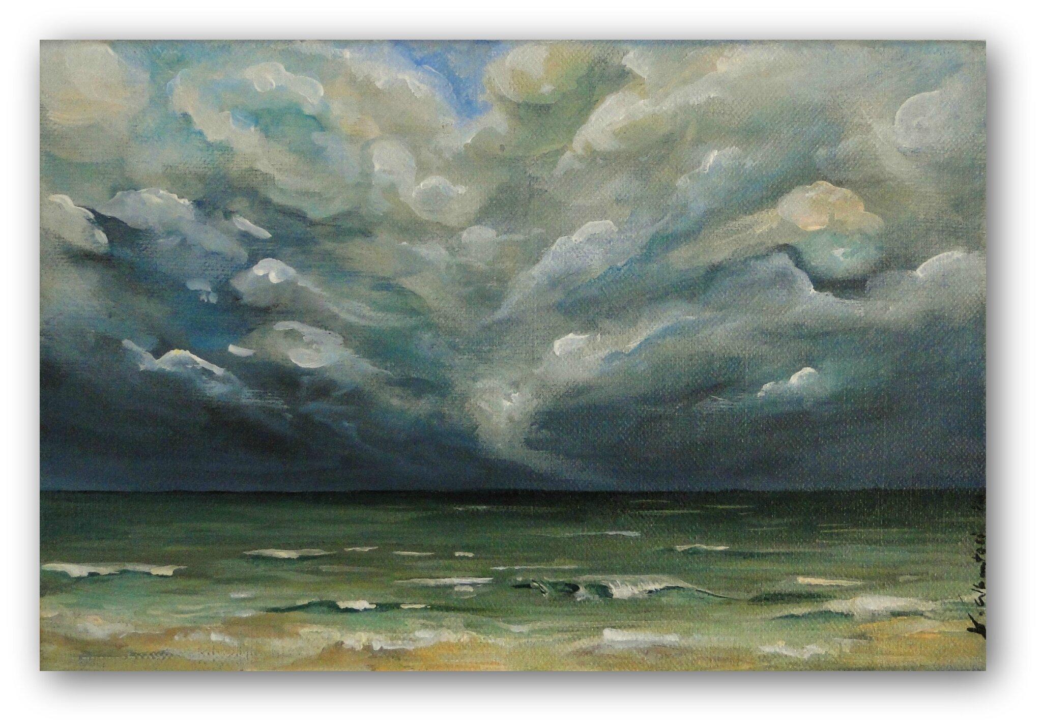 tableau peinture mer ocean orage nuages plage valérie albertosi
